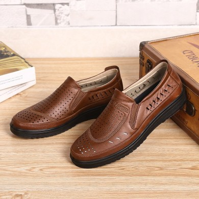 Uomo Hollow Out Soft Oxford in pelle con suola