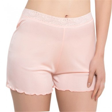 Cosy Seda Soft Lace-trim Underwear Screw Thread Suave respirável Boyshorts