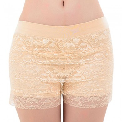 Cozy Layered Lace Bordado Shapewear Lingerie Boyshort Panties Segurança Underwear
