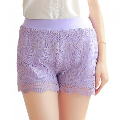 Cozy Lace Embroidery Crochet Hip-lifting Slim Safety Calças Respirável Boyshorts