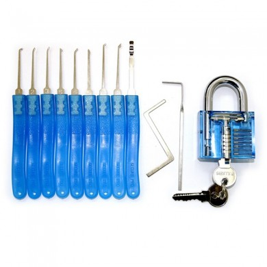 Blue Practice Padlock with 9pcs Unlocking Lock Pick Set Key Extractor Tool Lock Pick Tools