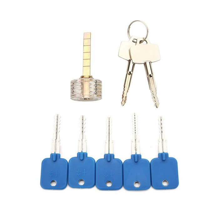 5Pcs Try-Out Keys Set with Transparent CrosS-shaped Practice Padlock Locksmith Tools