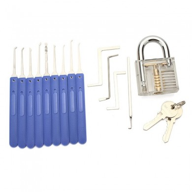 9pcs Blue Handle Unlocking Lock Pick Set Key Extractor Tool with Transparent Practice Padlock