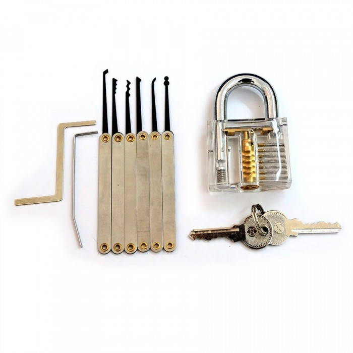 Transparent Practice Padlock with 6pcs Unlocking Lock Pick Set Key Extractor Tool Lock Pick Tools