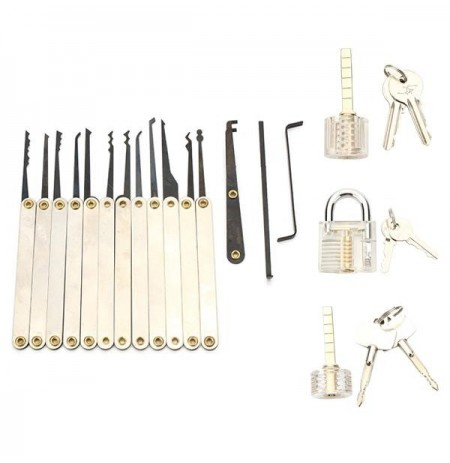 12pcs Unlocking Lock Pick Set with 3pcs Transparent Locks Locksmith Practice Supplies Set
