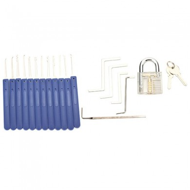 12pcs Blue Handle Unlocking Lock Pick Set Key Extractor Tool with Transparent Practice Padlock Lock Pick Tools