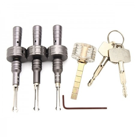 3Pcs HUK Stainless Steel Cross Lock Pick Set with CrosS-shaped Practice Padlock