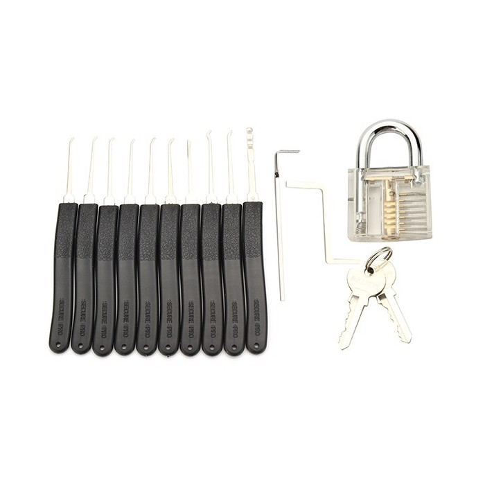 Transparent Inner Visual Padlock Practice Set with 10Pcs Unlocking Lock Pick / Key Lock Pick Tools