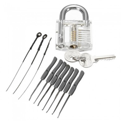 Mini Locksmith Tool Suit Set Lock Pick Tools Training Lock + Keys Suit Set with Key Remover