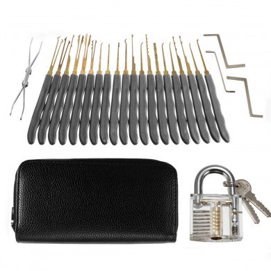 26Pcs Padlock Locksmith Training Starter Practice Kit Lock Unlocking Pick Tool