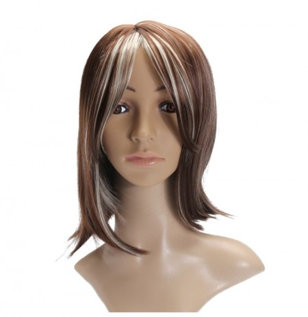 Mode Femmes Court Brown Blonde Natural Straight Cosplay Hair Full Wigs