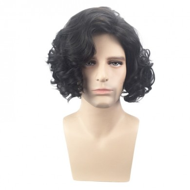 Men Black High Temperature Fiber Synthetic Wigs Cosplay