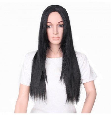 66cm Women Natural Center Parting Long Straight Black Wig