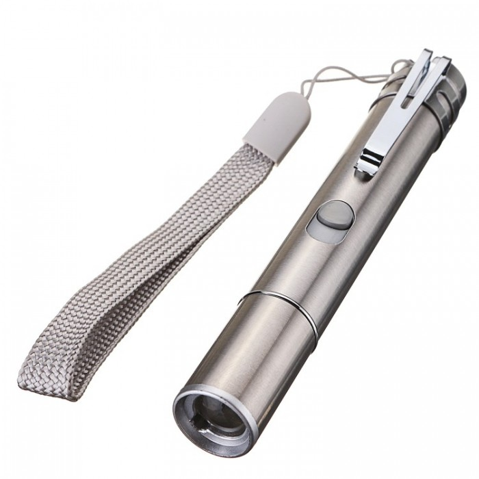 3 in 1 Stainless Steel USB Rechargeable Flashlight Multi-pattern Infrared Laser Pen