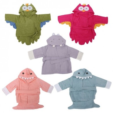 Animal Cartoon Owl Shark Hippo Baby Infant Hooded Wrap Bathrobe Bath Beach Towel