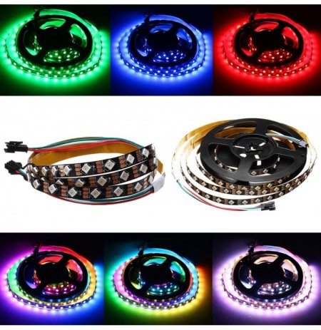DC5V 1M 2M 12W 24W WS2812 IC SMD5050 Modulo Perlina Tilt 45 ° Non impermeabile RGB LED Strip Light