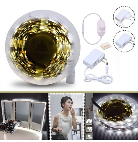 4M SMD2835 Dimmerabile Non impermeabile Bianco Vanity Mirror LED Strip Lights EU US Plug DC12V