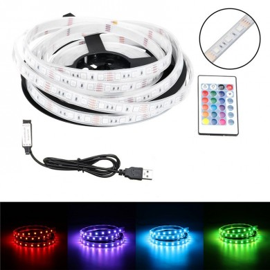 1M/2M/3M/4M/5M Waterproof USB 5050SMD RGB LED Strip Light Bar TV Back Lighting + Remote Control DC5V