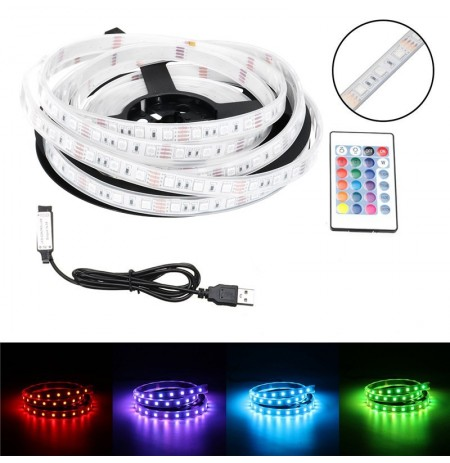 1M / 2M / 3M / 4M / 5M Impermeabile USB 5050SMD RGB LED Strip Light Bar TV retroilluminazione + remoto Controllo DC5V