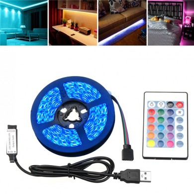 DC5V 1M/2M/3M/4M/5M USB IP67 Outdoor 5050SMD RGB LED Strip Light Bar TV Backlighting+Remote Control