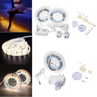 1.5M 3M Motion Activated Sensor Flexible LED Strip Light Bed Night Lamp with Switch EU Plug DC12V