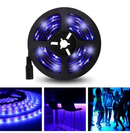 5M 3528SMD Viola non impermeabile UV LED Strip Light con DC Connettore DC12V