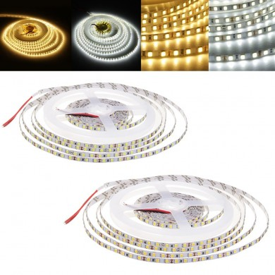 5M 72W SMD2835 5MM Untra Sottile Bianco puro Bianco caldo Non impermeabile Flessibile LED Strip Light DC12V