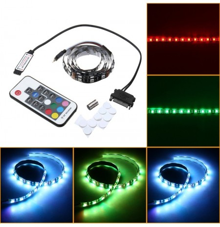 0.5M 1M Non-waterproof 15Pin SATA Magnetic RGB PC Case LED Strip Light + 17Keys Remote Control DC12V