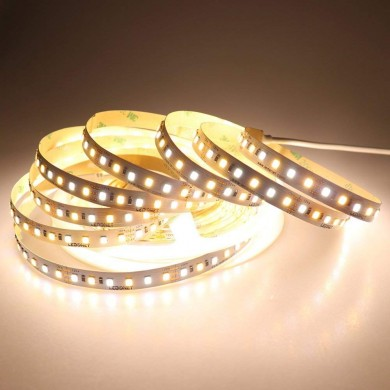 DC12V 5M 72W SMD2835 CCT Non impermeabile bianco caldo + bianco puro Dual Color Flessibile 600LED Strip Light