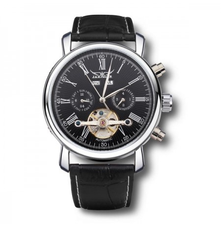 JARAGAR Luxury Skeleton Automatic Mechanical Leather Men Wrist Watch