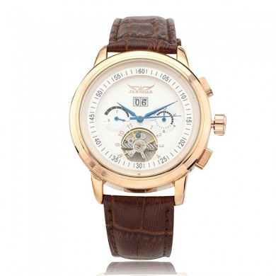 JARAGAR Date Week Leather Band Men Luxury Mechanical Wrist Watch