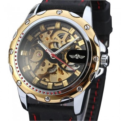 WINNER WRG8027 Automatic Mechanical Watch Luxury Silicone Strap Men Wrist Watch