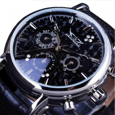JARAGAR F120545 Fashion Automatic Mechanical Watch Multifunction Leather Strap Men Wrist Watch