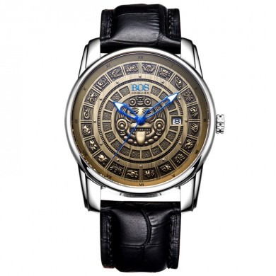 BOS 9018 Retro Men Mechanical Watches MAYA Skeleton Design Dials Men Leather Watches