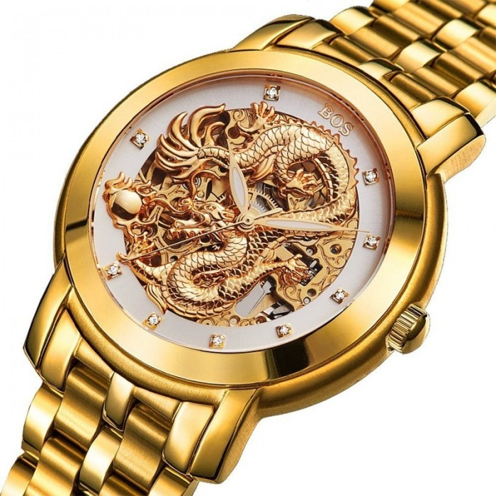 948c680a4 ANGELA BOS 9007 Automatic Wind Mechanical Watches Dragon ...