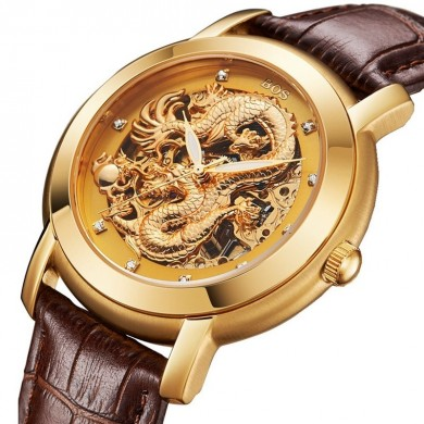 ANGELA BOS 9007 Automatik Wind Mechanische Uhren Dragon Collection Lederband Herrenuhr