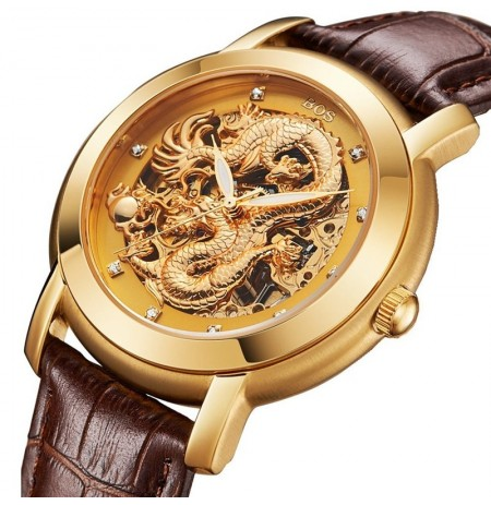 ANGELA BOS 9007 Automatic Wind Mechanical Watches Dragon Collection Leather Strap Men Watch