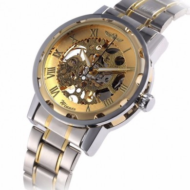 Classic Hand Wind Mechanical Watch Golden Case Classic Romen Skeleton Men Wartch
