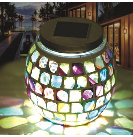Stainless Steel Solar Power Mosaic Colorful LED Light Garden Glass Ball Decoration Lamp