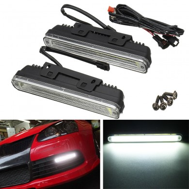 Universal COB LED DRL Daytime Running Lights Front Driving Fog Lamp Waterproof White 21cm 2PCS