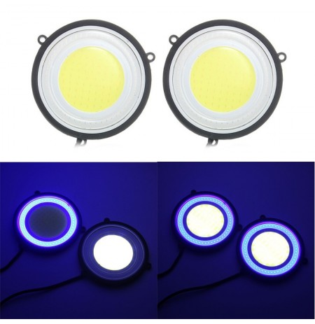 3.5 Inch Round COB LED Daytime Running Lights Car Driving Fog Turn Lamp 6.5W 1200LM Dual Color