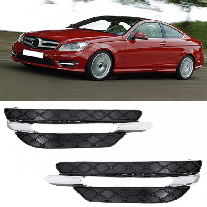 Front Bumper DRL Daytime Running Lights Grill Cover Left/Right for Mercedes-Benz W204 C-Class 2011-2013