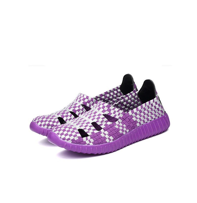 Hollow Out Knitting Weave Slip On Breathable Flat Casual Shoes (Color: Purple, Size(US): 7) фото