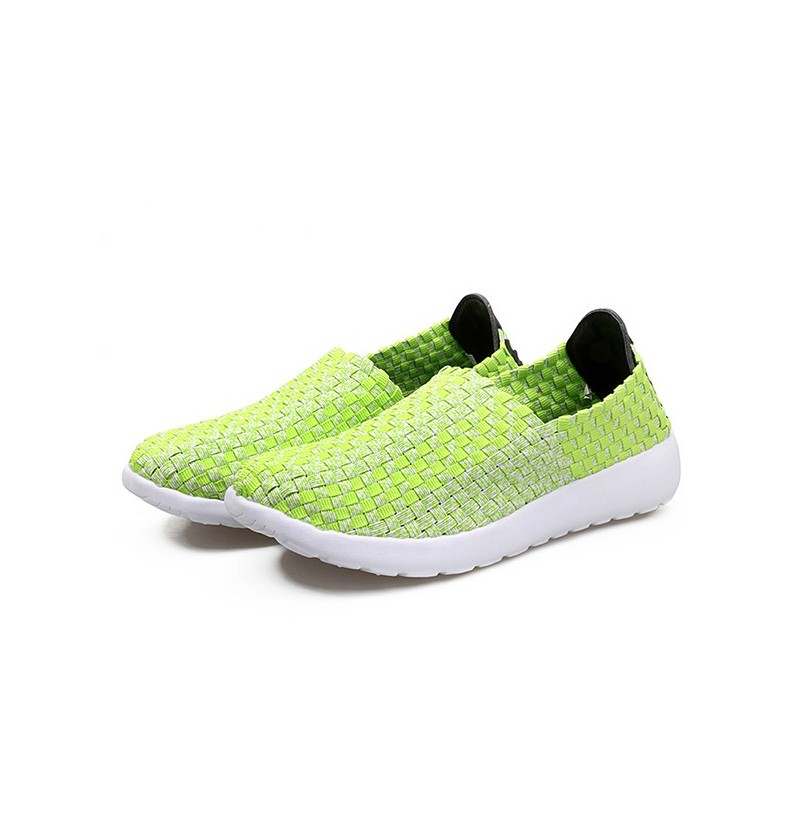 Mixed Color Handmade Weave Knitting Flat Soft Sport Shoes (Color: Blue, Size(US): 6) фото