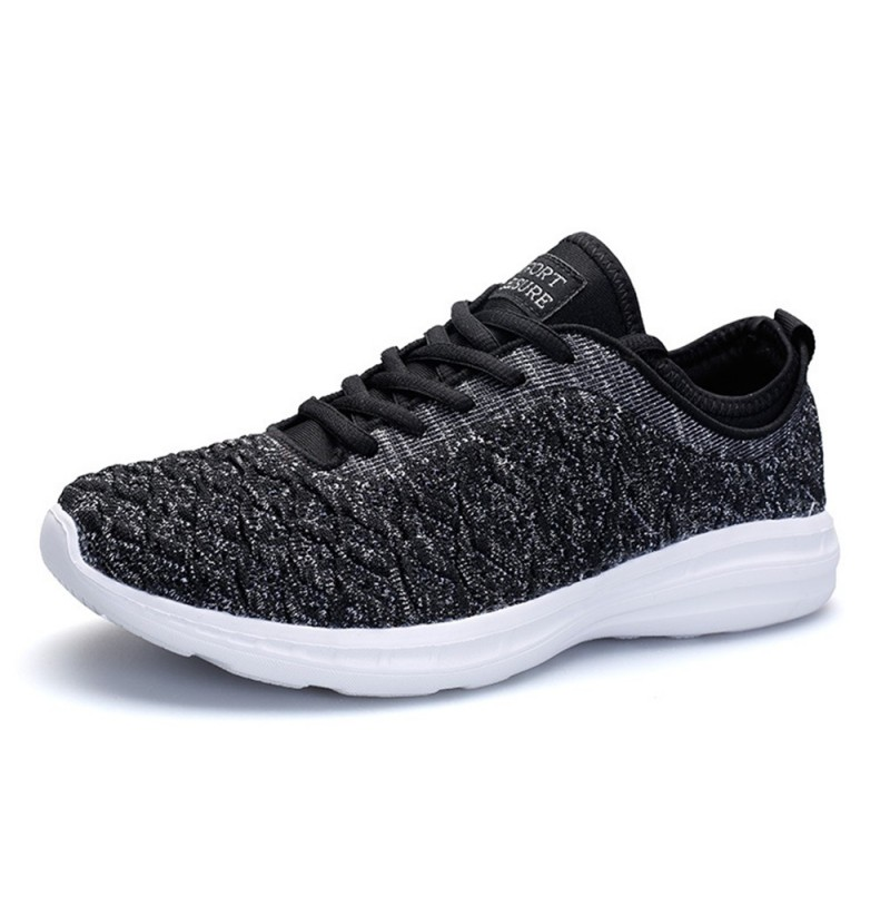 Casual Mesh Breathable Running Sneakers (Color: Black Silver, Size(US): 10) фото