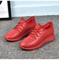 Cor vermelha confortável Lace Up Sneakers Casual Shoes