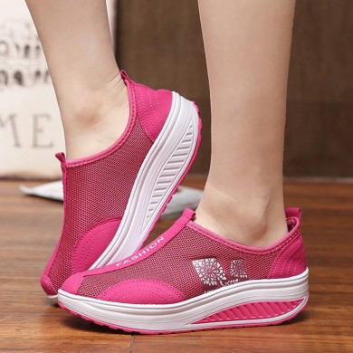 Mesh Breathable Rocker Sole Shoes Slip On Sneakers