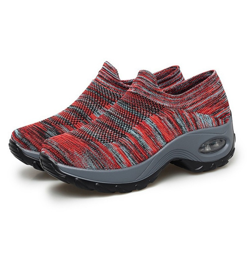 Mesh Breathable Cushioned Walking Sneakers For Women (Color: Red, Size(US): 6)