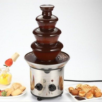 4 Tiers Mini Stainless Steel Chocolate Fondue Fountain Waterfall Melting Machine Kitchen Appliance