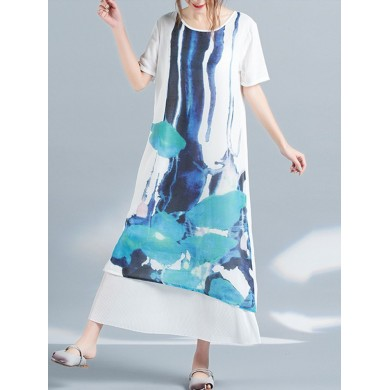 Mulheres Casual Scoop Neck Printed Short Sleeve Layered Maxi Dress